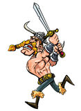 Cartoon viking charging with his Stock Photography