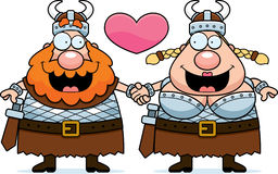 Cartoon Viking Couple. A cartoon illustration of a Viking couple holding hands and in love Royalty Free Stock Image