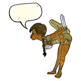 Cartoon viking girl bowing with speech bubble Stock Images