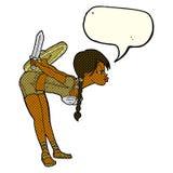 Cartoon viking girl bowing with speech bubble Stock Photos