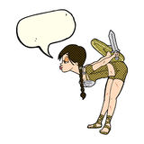Cartoon viking girl bowing with speech bubble Royalty Free Stock Photo