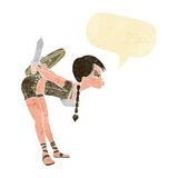 Cartoon viking girl bowing with speech bubble Stock Image