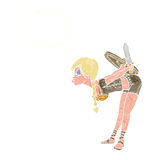 Cartoon viking girl bowing with thought bubble Royalty Free Stock Images