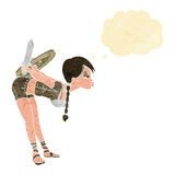 Cartoon viking girl bowing with thought bubble Royalty Free Stock Photography