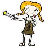 cartoon viking girl with sword Stock Photography