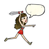 Cartoon viking girl with sword with speech bubble Royalty Free Stock Photo