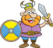 Cartoon viking holding a shield and a sword Royalty Free Stock Image