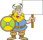 Cartoon viking holding a sign. Royalty Free Stock Image