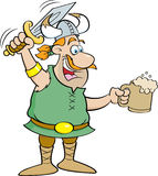 Cartoon viking holding a sword and a mug. Stock Photography