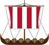 Cartoon Viking Longboat. Cute Cartoon Norse Viking Ship with Striped Sail and Shields - Vector Illustration Royalty Free Stock Images