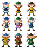 Cartoon Viking Pirate icon set Royalty Free Stock Photos