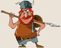 Cartoon viking red man with a weapon Royalty Free Stock Photography