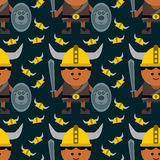Cartoon viking seamless background design Stock Image