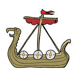 Cartoon viking ship Stock Photos