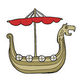 Cartoon viking ship Royalty Free Stock Images