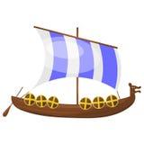 Cartoon Viking ship. Royalty Free Stock Photo