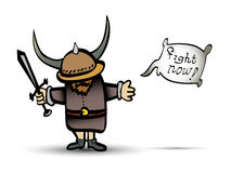 Cartoon viking warrior with sword. Little illustrated cartoon viking warrior with sword and attention for fight Stock Photos