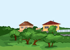 Cartoon village houses with green trees Stock Photography