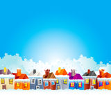 Cartoon village houses in winter Royalty Free Stock Photography