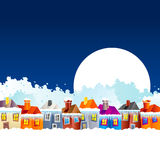 Cartoon village houses in winter Stock Photography