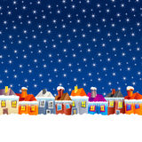 Cartoon village houses in winter Royalty Free Stock Photo