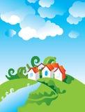 Cartoon village landscape. Vector illustration stock illustration