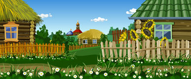 Cartoon village street with houses and church. Village street with houses and church vector illustration