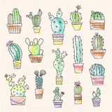 Cartoon vintage cactus illustration Stock Photography