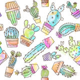 Cartoon vintage cactus illustration Royalty Free Stock Image