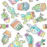 Cartoon vintage cactus illustration Royalty Free Stock Photos
