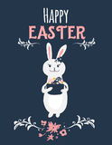 Cartoon vintage easter bunny  on dark background with florals. Cute illustration of rabbit with Happy Easter Stock Images