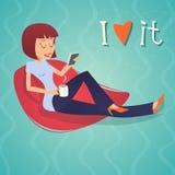 Cartoon Vintage Geek Eager Beaver Symbol Woman. Mobile Phone Drinks Coffee Tea Icon on Stylish Background Retro Design Vector Illustration vector illustration