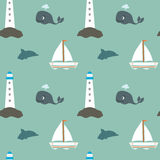 Cartoon vintage retro sea seamless pattern with whale lighthouse boat and dolphin Royalty Free Stock Images