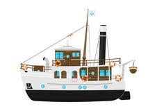 Free Cartoon Vintage Steam Ship. Stock Image - 123476551