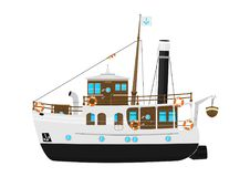 Cartoon vintage steam ship. Stock Image