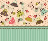 Cartoon vintage woman's bags Stock Images