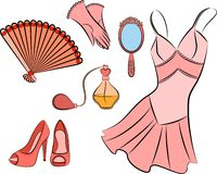 Cartoon vintage woman's elements. Royalty Free Stock Images