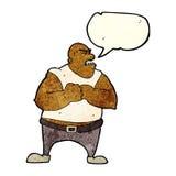 Cartoon violent man with speech bubble Stock Photography