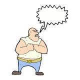 Cartoon violent man with speech bubble Royalty Free Stock Photo