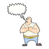 Cartoon violent man with speech bubble Royalty Free Stock Image