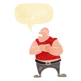 Cartoon violent man with speech bubble Royalty Free Stock Images