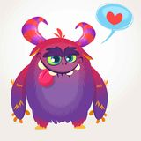 Cartoon violet cool monster in love. St Valentines vector illustration of  loving monster. Stock Photo