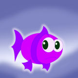 Cartoon violet fish Royalty Free Stock Photos