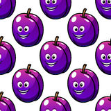 Cartoon violet plum fruit seamless pattern Stock Image