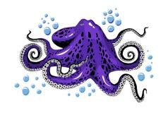 Cartoon violet purple octopus clip-art isolated on white background illustration stock illustration