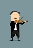 Cartoon violinist in black tailcoat Royalty Free Stock Images