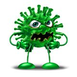 Cartoon Virus Character. As a green disease monster creature as a health medicine or medical pathology symbol as a pathogen clip art icon on a white background Stock Photos