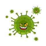 Cartoon virus character isolated. Illustration on white background. Cute fly germ virus infection character. Funny micro bacteria character. Microbe, Pathogen vector illustration
