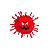 Cartoon virus character isolated vector. Illustration on white background. Cute fly germ virus infection vector character. Funny micro bacteria character royalty free illustration