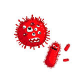 Cartoon virus character isolated vector. Illustration on white background. Cute fly germ virus infection vector character. Funny micro bacteria character stock illustration